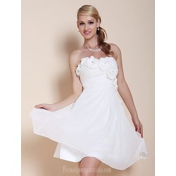 Australia Formal Dresses Cocktail Dress Party Dress Graduation Dress White Plus Sizes Dresses Petite A-line Princess Strapless Sweetheart Short Knee-length Chiffon
